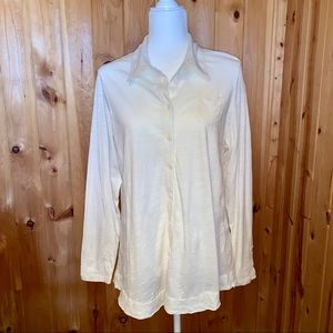 CAbi cream colored button up long sleeve shirt XL